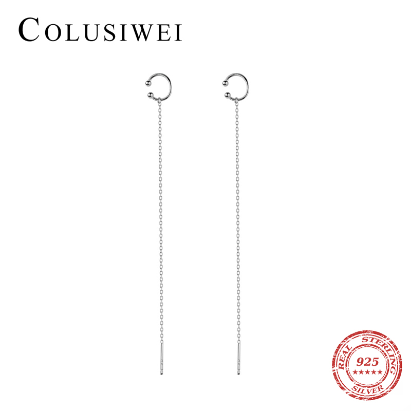 Colusiwei Genuine Sterling Silver 925 Beads Long Chain Drop Earrings For Women Fashion Simple Style Dangle Earrings Fine Jewelry