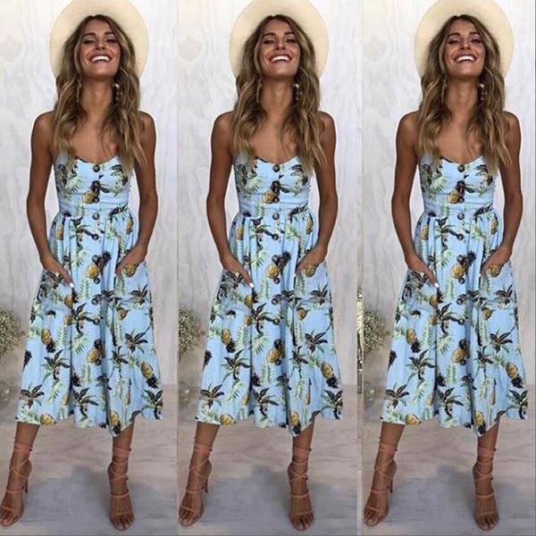 Boho Sexy Floral Dress Summer Vintage Casual Sundress Female Beach Dress Midi Button Backless Polka Dot Striped Women Dress2020  14