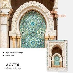 Image 5 - האסלאמי פוסטר חסן השני מסגד מרוקו קיר אמנות בד הדפסת ביסמילה Alhamdulillah תמונה ציור מודרני סלון דקור