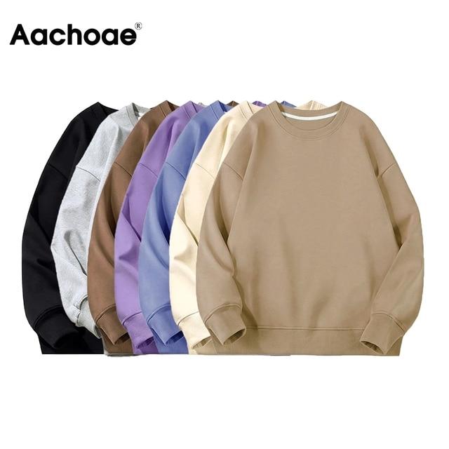 Aachoae 2021 Women Unisex Couple Fleece 100% Cotton Suits 2 Pieces Sets Casual Tracksuit Hoodies Sweatshirt Pants Plus Size 4