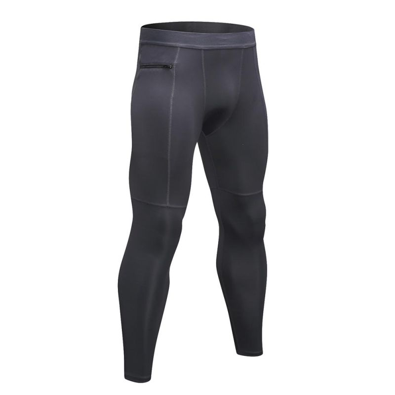 Men Skinny Leggings Compression Running Tights Pants Zipper Workout Quick Dry High Elastic Trousers Legging