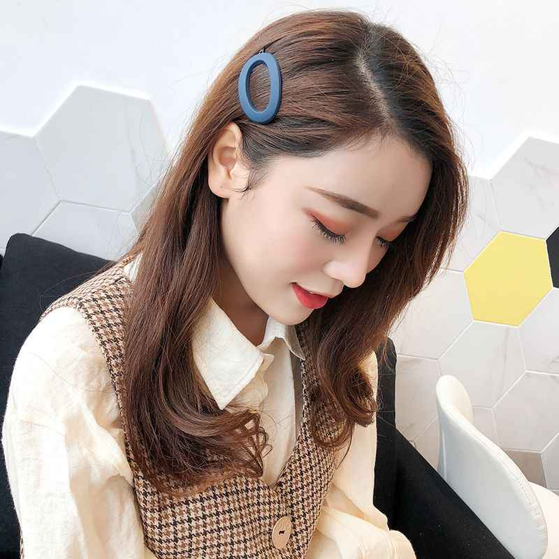 1PCS Solid Color Geometric Resin Hair Clips Korea Style Geometric Hollow Oval Shape Hairpins Scrub Resin Hairpins for Women