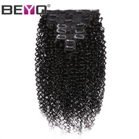Malaysian Curly Human Hair Clip in Extensions 100% Remy Hair 120 Grams/Set 8 Pcs Natural Color Free Shipping