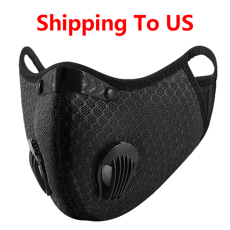 Shipping To USA Ski Bibs Cycling Cycle Dust Mask Sports Running Reusable Anti-Pollution Face Mask Breathing Carbon Filters