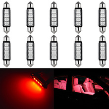 10pcs C5W C10W LED Canbus light bulbs 41mm 42mm Festoon led Car Dome Light Auto Interior Reading Lamps 5050SMD Red White 12V