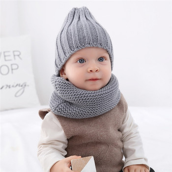 Baby Children Hat Scarf Winter Warm Knitted 2Pcs/Set Caps Kids Beanies Cute Boys Girls Pom Pom Hats Ring Scarves Sets D1363 zmafox baby boys girls winter hats quality thick panda beanies caps soft fur pom poms children kids knitting beanie hat plaits