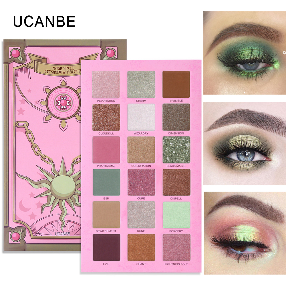 Image 3 - UCANBE 2pcs/lot Eye Shadow Palette Makeup Set Matte Shimmer Glitter Pearlescent Powder Orange Yellow Green Summer Makeup Look-in Eye Shadow from Beauty & Health