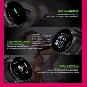 Image 4 - D18 pulseira inteligente banda rastreador de fitness heart rate mensagens de pressão arterial lembrete tela colorida à prova dwaterproof água esporte pulseira