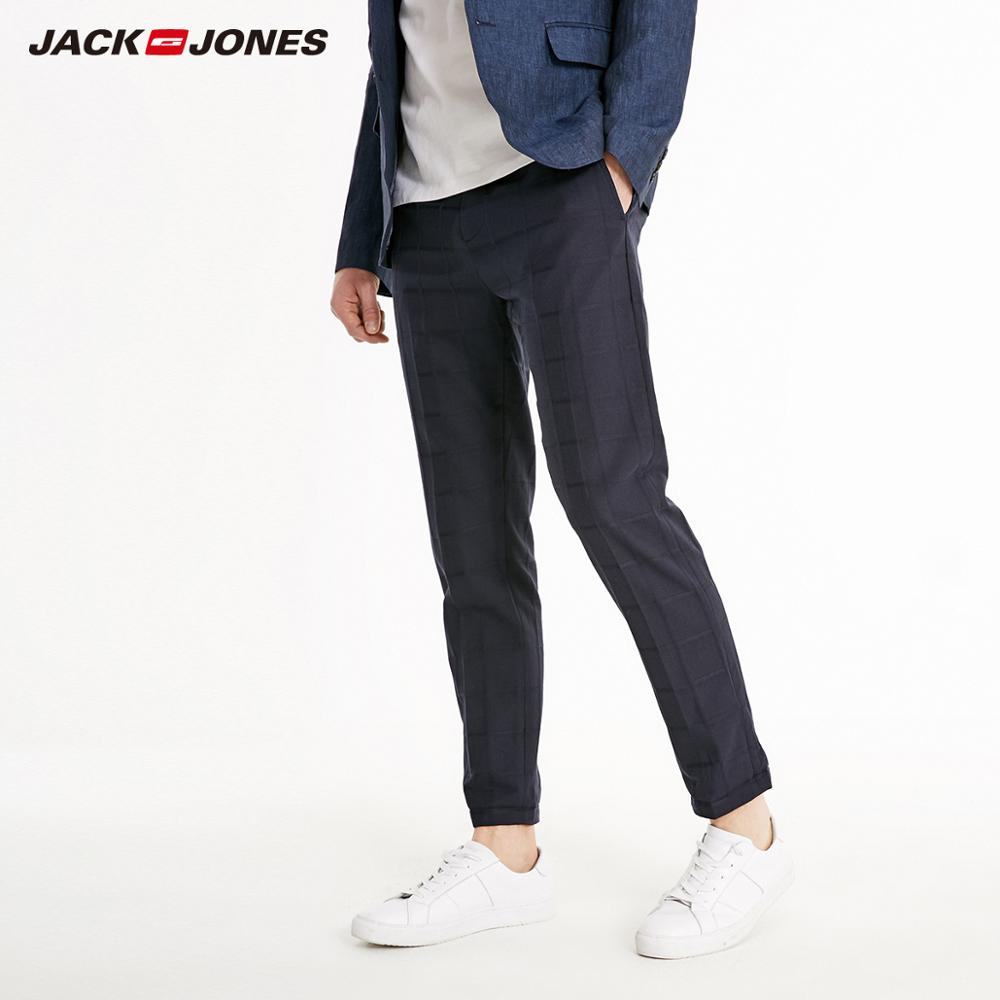 JackJones Men's Slim Fit Plaid Cotton Crop Pants Basic| 219114539