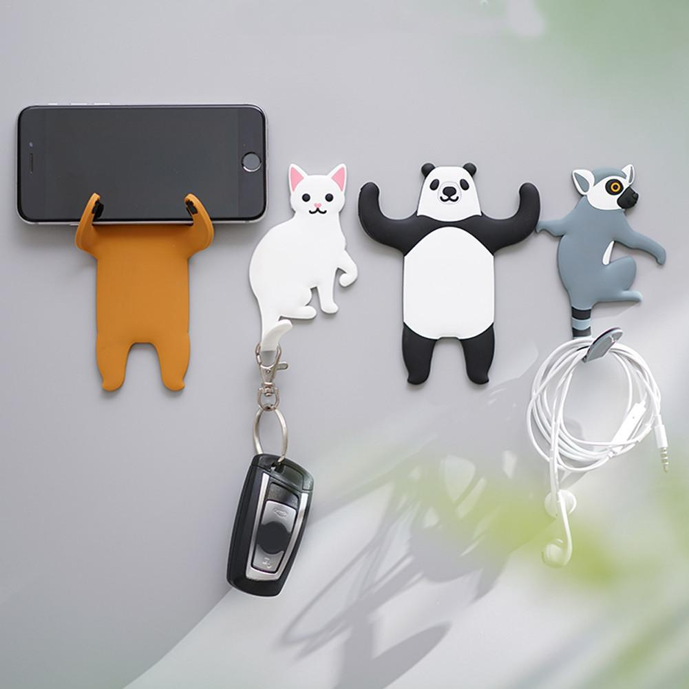 3pcs/set Cute Dog Cat Bears Wall Mount Key Holder Wall Hook Hanger Organizer Durable Key Holder For Home Kitchen Bathroom