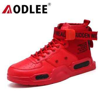 Skórzane buty męskie trampki botki moda Hip Hop buty mężczyźni trampki dla mężczyzn obuwie tenis masculino adulto AODLEE tanie i dobre opinie Sztuczna skóra RUBBER Shoes men sneakers Lace-up Pasuje prawda na wymiar weź swój normalny rozmiar Podstawowe Stałe