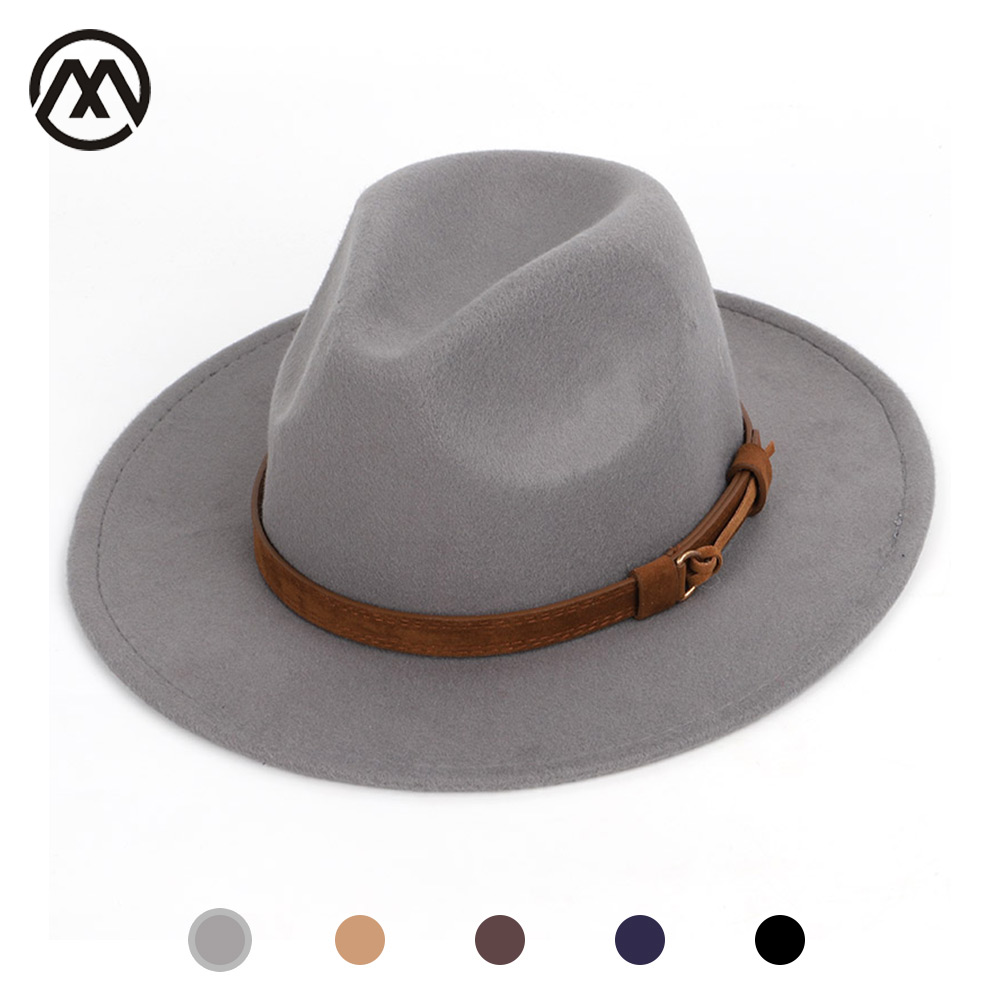 Men's fedora wool warm and comfortable adjustable large size 60CM hats unisex fashion trend solid caps classic bowler hat man
