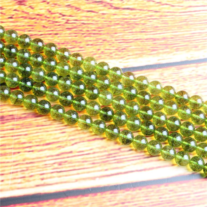 Green olive crystal Natural Stone Bead Round Loose Spaced Beads 15 Inch Strand 4/6/8 / 10mm For Jewelry Making DIY Bracelet