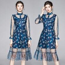 Женское Сетчатое платье с длинным рукавом и воротником стойкой