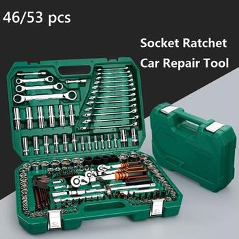 53 sztuk gniazdo Ratchet narzędzie do napraw samochodowych zestaw kluczy głowy zapadkę Ratchet klucz nasadowy śrubokręt profesjonalne narzędzia do obróbki metalu zestaw tanie i dobre opinie alloet Metalworking Połączenie CN (pochodzenie) Narzędzie do naprawy samochodu