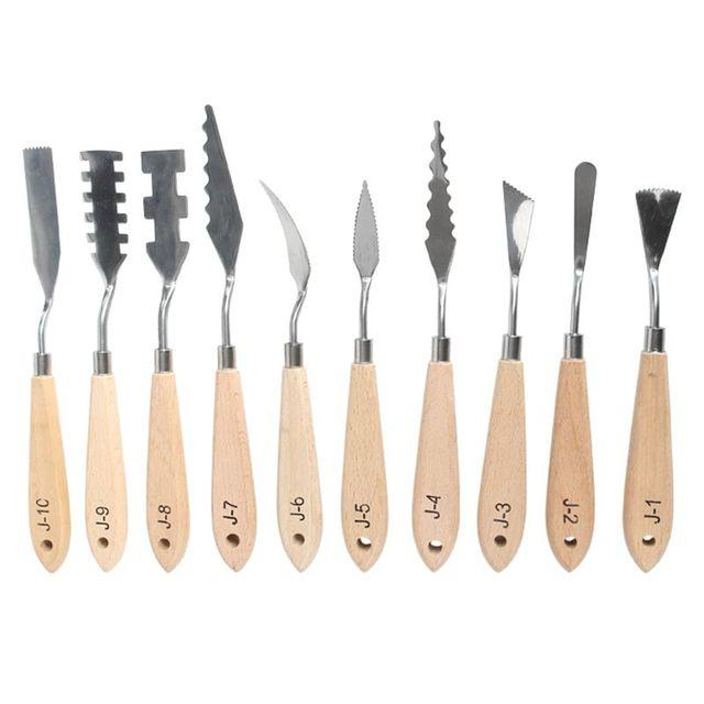 10 unidades/juego de paleta de pintura de acero inoxidable, cuchillo, espátula para pintura al óleo, herramientas raspadoras