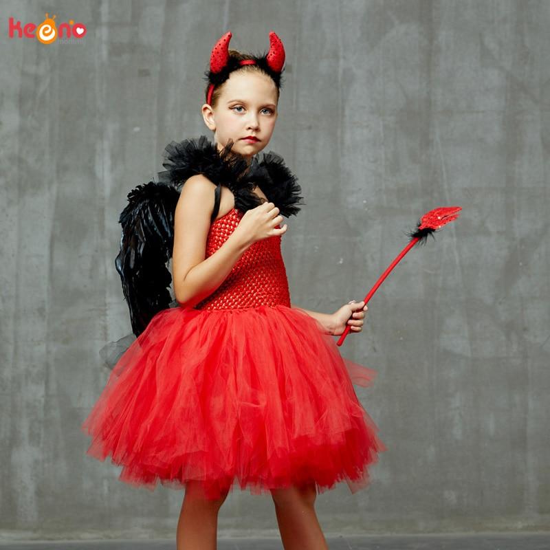 4//set Women Girls Black Devil Costume Feather Wing Red Pitchfork Headband