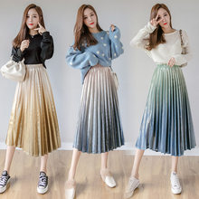 Womens Long Maxi Pleated Skirts Gradient Color Female Fashion Casual Velvet Skirt Autumn Winter Vintage High Waist Jupe Femme(China)