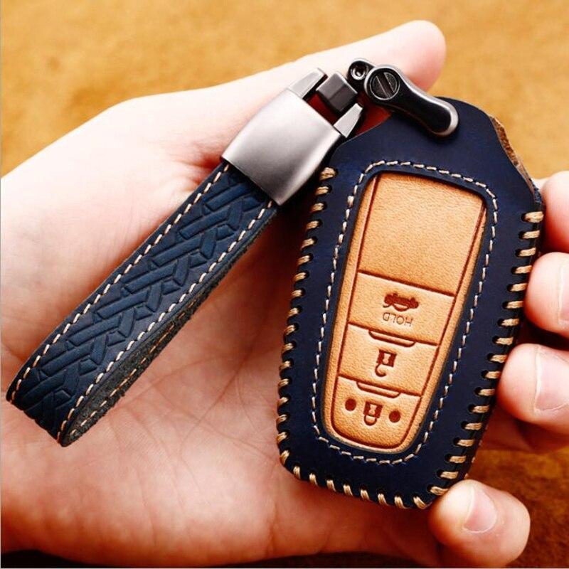 Genuine Leather Car Key Case Fob Cover For Toyota CHR Auris Vitz Aygo Prado Camry V70 RAV4 Fortuner 2019 2020 Key Ring Shell