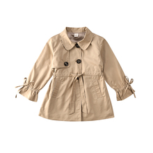 Girl Jacket Trench-Coat Outwear Toddler Infant Kid Parka Button Long-Length Solid New