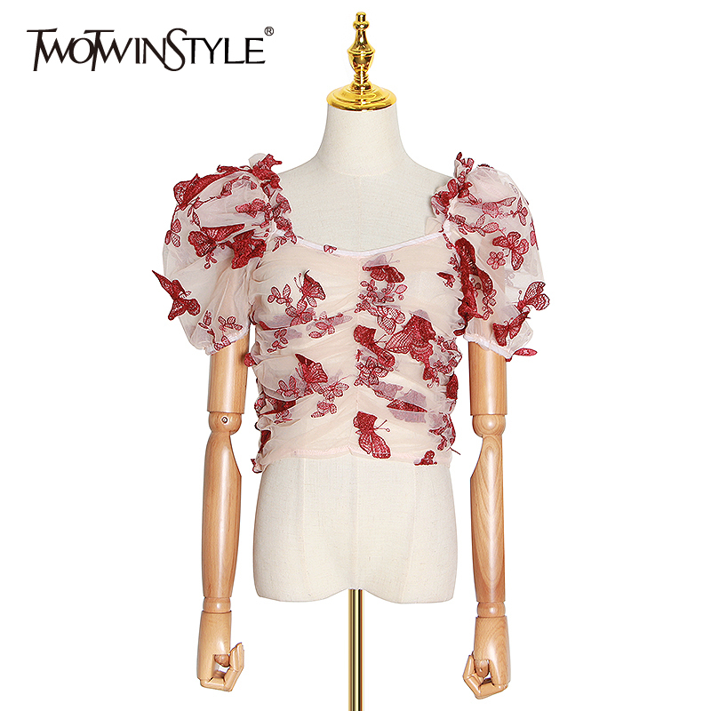 TWOTWINSTYLE Elegant Embroidery Women Shirts Square Collar Puff Short Sleeve Patchwork Mesh Hit Color Blouse Female Fashion Tide