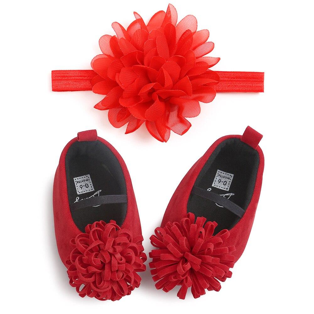 0-18M Candy Colors Newborn Baby Prewalker Soft Bottom Anti-slip Shoes Footwear Princess Girl Crib Big Flower Shoes With Headband