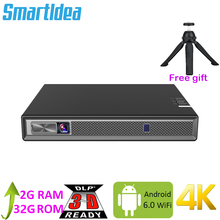 Смартфон Smartldea Full HD 4K с аккумулятором для 3d проектора, Android 6,0, Wi Fi, светодиодный DLP смарт проектор с зумом, Auto Keystone,Bluetooth, Airplay