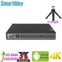 Smartldea Full Hd 4K 3D Projector Batterij Android 6.0 Wifi Led Dlp Smart Projector Met Zoom, auto Keystone,Bluetooth, Airplay