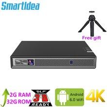 Smartldeaフルhd 4 18k 3Dプロジェクターバッテリーのandroid 6.0 wifi led dlp proyectorズーム、自動台形、bluetooth、エアプレイ
