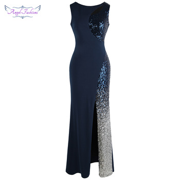 Angel-fashion Splicing Sequin Evening Dress Slit Gradient Long Royal Blue 472 - discount item  25% OFF Special Occasion Dresses