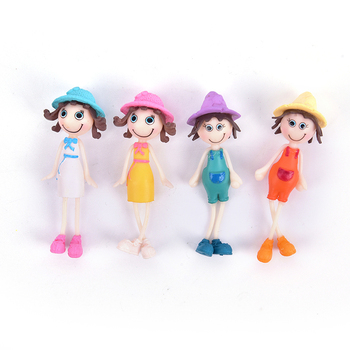 Lovely Small Summer Sunshine Girl Doll Cartoon Figurines Gardening Ornament Home Decoration Accessories image