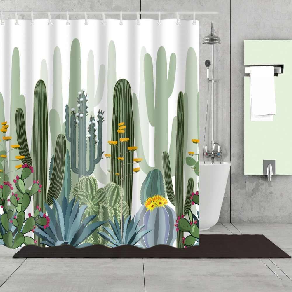 الاستوائية الخضراء نبات الصبار الأناناس دش الستائر ستارة الحمام ستارة حمام Frabic مقاوم للماء البوليستر مع السنانير