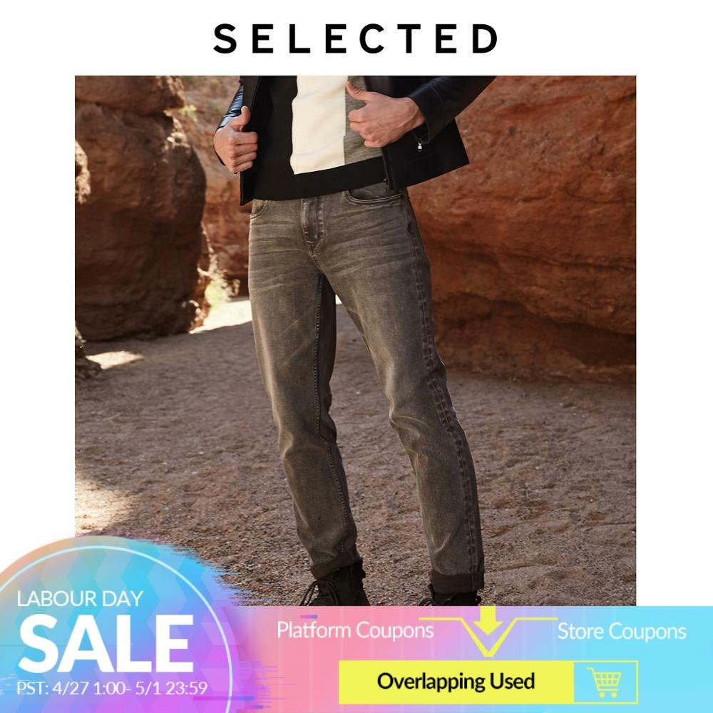 SELECTED Men's Slim Fit Stretch Cotton Grey Jeans LAB|419432513