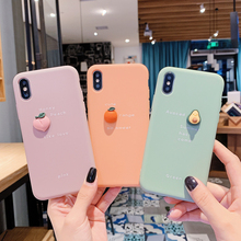 cute cartoon 3D Avocado peach orange Phone Case For iPhone X XR XS Max 11 pro 8 7 6 6S Plus Fruit Soft Silicone Back Cover coque