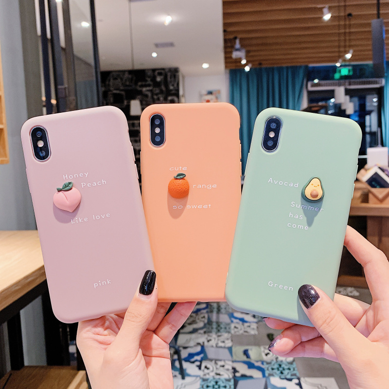 cute cartoon <font><b>3D</b></font> Avocado peach orange Phone <font><b>Case</b></font> For <font><b>iPhone</b></font> <font><b>X</b></font> XR XS Max 11 pro 8 7 6 6S Plus Fruit Soft <font><b>Silicone</b></font> Back Cover coque image