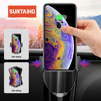 Suntaiho Qi Car Wireless Charger for XS Max Samsung S8 S10 Note10 Quick Wireless Charging Charger Car Mount Mobile Phone Holder