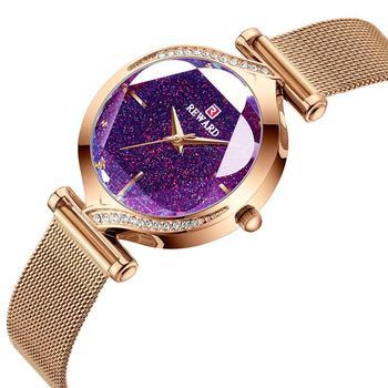 REWARD Fashion 2020 New Women Watches Patel Shape Glass Mesh Strap Quartz Japan Movement Waterproof Wristwatch Girl Clock