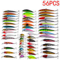 Kit Set Of Wobblers Carp Minnow Hard/Artificial/Fake Bait For Fishing Tackle/Lure Mixed Swimbait Crankbaits Trolling Pike 56pcs