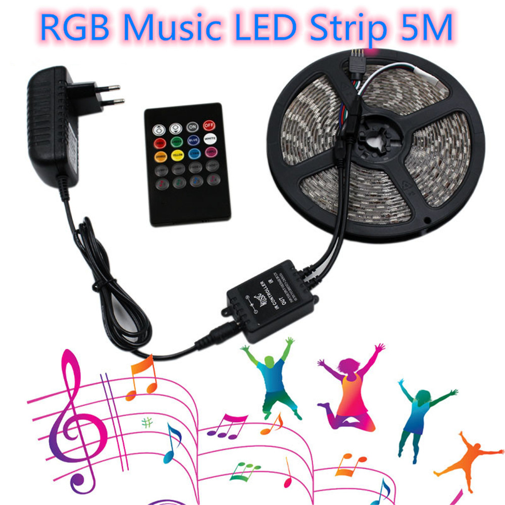 LED Strip Light Music Sync RGB Tape SMD 2835 12V Waterproof Ruban Flexible Ribbon Diode For Neon Party Decorative Lights 5M Lamp
