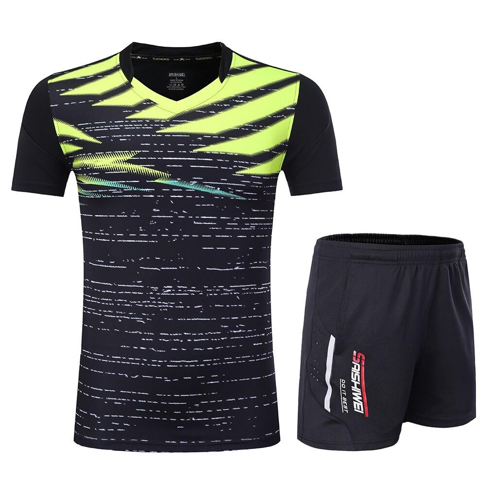 Новинка, быстросохнущая футболка для бадминтона для мужчин/женщин, спортивный комплект для бадминтона, настольный теннис, Мужская форменная футболка, теннисные рубашки, одежда 3869 - Цвет: Black