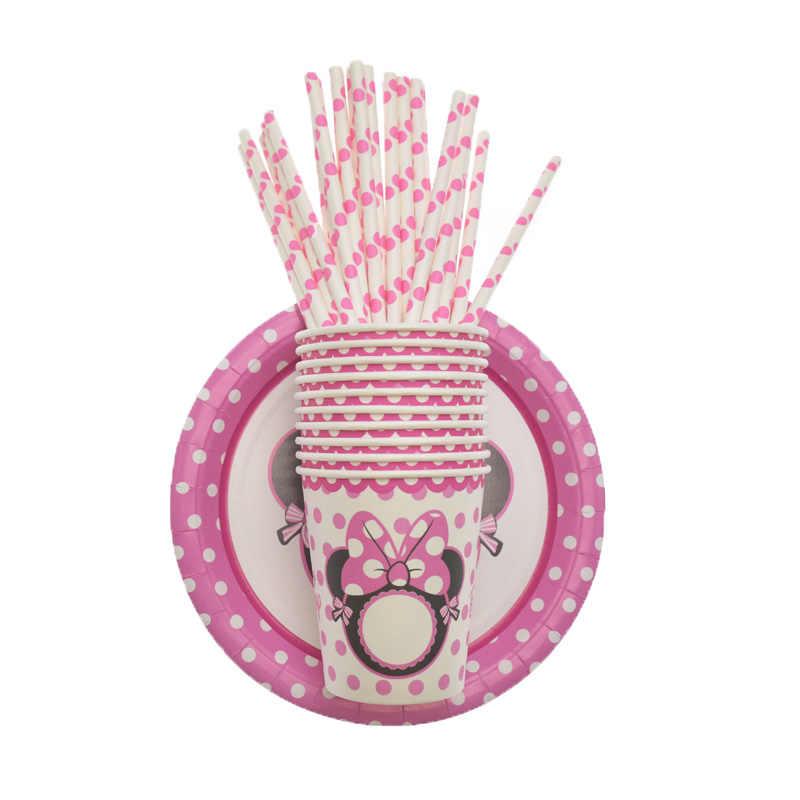 Impreza z myszką Minnie balony na przyjęcie bociankowe dla dzieci papierowe talerze i kubki jednorazowe zastawy stołowe zestaw urodziny dekoracje weselne