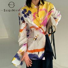 SEQINYY Cotton Shirt 2020 Summer Spring New Fashion Design Women Long Sleeve Colorful Flowers Print Elegant Top