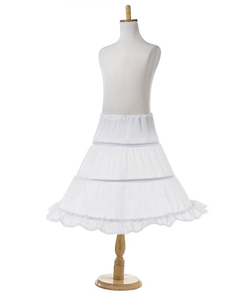 Tutu Skirts Girl Wedding Petticoat Bridal 3 Hoops Crinoline Prom Underskirt Fancy Skirt  Ball Gown Elastic Waist 3-14 Years 3