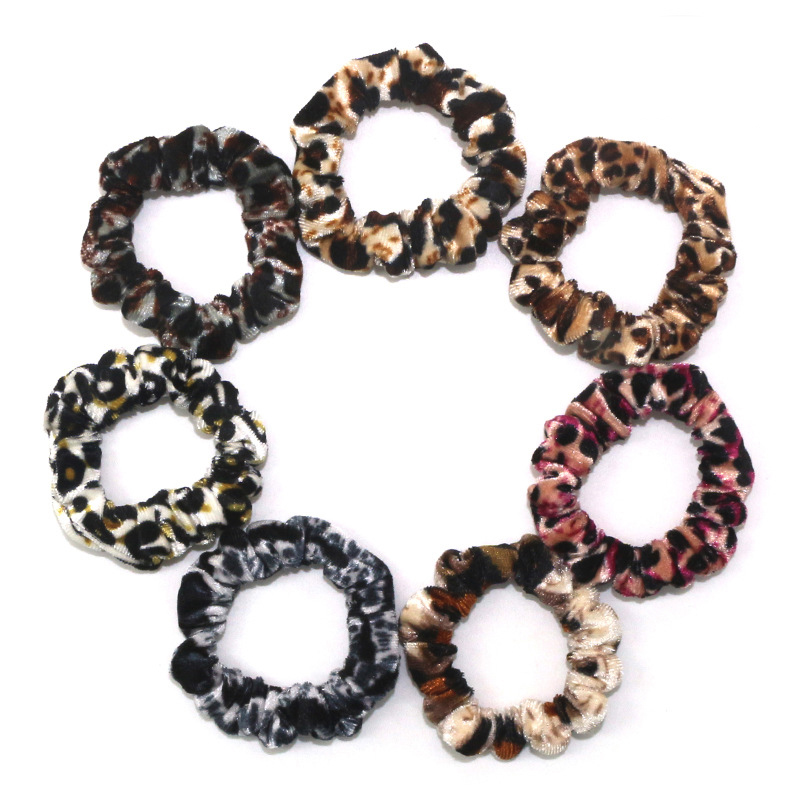 1Pcs Leopard Velvet Scrunchies Elastic Hair Ties Colorful Ponytail Holders Yellow Green Blue Bright Hair Accessories image