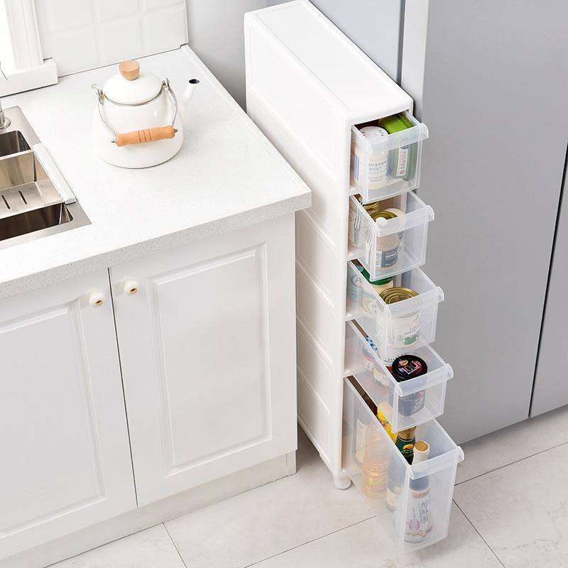 14cm Narrow Seam Storage Rack Plastic Toilet Rack Drawer Type Lockers Bathroom Crevice Cabinet Kitchen Storage Shelf Organizer