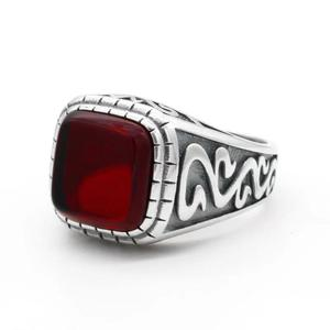 Image 3 - 925 Sterling Silver Vintage Men Ring with Square Red Natural Onyx Stone Thai Silver Carved Ring for Men Turkish Handmade Jewelry