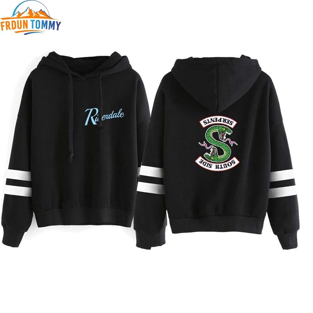 New Riverdale Hooded Sweatshirts South Side Serpents Hoodie Women Long Sleeve Striped Pullover Hot Riverdale Hoodie Streetwear