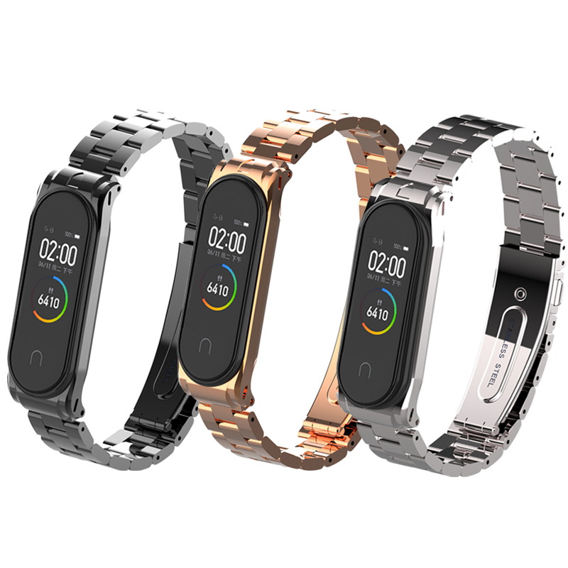 Amazfeel Bracelet For Mi Band 4 Strap Metal Miband 4 Wrist Strap Stainless Steel Wristband Strap For Mi Band 3 Miband3 Belt