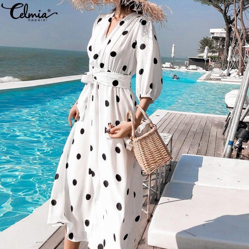 Celmia 2019 Summer Womens Dress Korean Style V-neck Maxi Long Dress Casual 3/4 Sleeve Belt Female Dot Print Vestido Plus Size 7