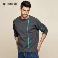 KUEGOU 2019 Autumn Letter Embroidery Gray Sweater Men Pullover Casual Jumper For Male Brand Knitted Korean Style Clothes 1739